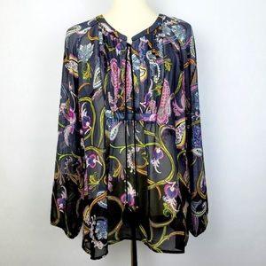 Long Sleeve Sheer Boho Peasant Tunic Blouse(sz XL)